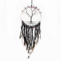 Crochet Tree of Life Dreamcatcher – Black, White & Brown