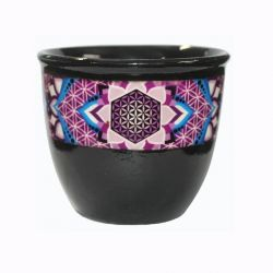 FLOWER OF LIFE BLACK SMUDGE BOWL SMALL8 X 9CM