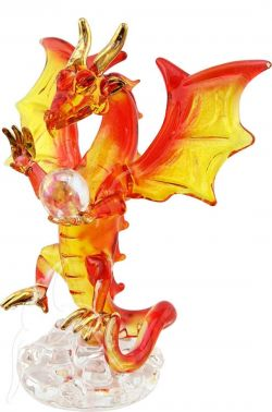 Dragon with Crystal Ball - Orange