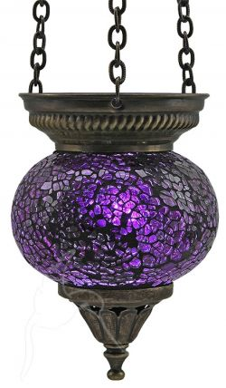 Turkish Mosaic Hanging Tealight - Small - Purple