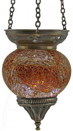 Turkish Mosaic Hanging Tealight - Medium - Amber