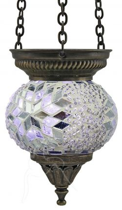 Turkish Beaded Mosaic Hanging Tealight - Small - Beaded White/Silver