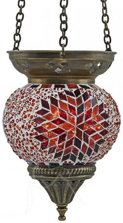 Turkish Mosaic Hanging Tealight - Medium - Beaded Fire