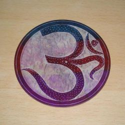 Incense Plate OM Carved Multi Colour Soapstone