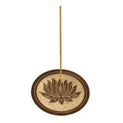 Lotus Black Stone  Carved Incense Plate