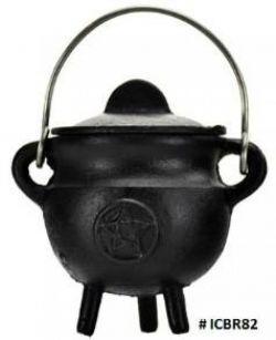 Cauldron  Black Pentagram Cast Iron Small