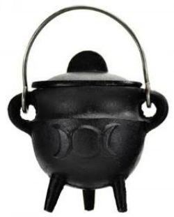 Cauldron  Black Cast Iron Triple Moon Small