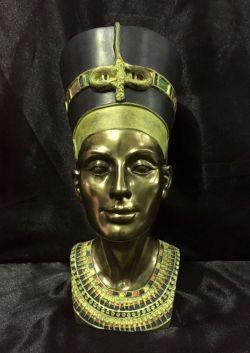 QUEEN NEFERTITI Bronze Bust Statue 25cm H