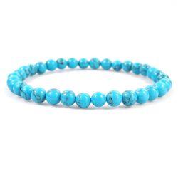 "BLUE HOWLITE 6MM Bead Bracelet, size 6.5"""