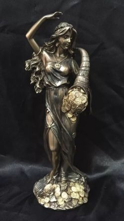 FORTUNA Greek Goddess Bronze Cold Cast Coated Statue 27cm