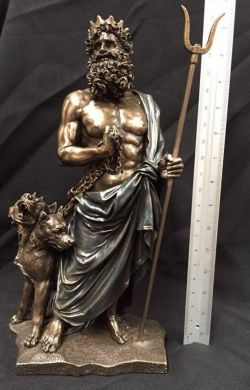 HADES Greek God Bronze Cold Cast Coated Statue 28cm Tall