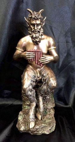 PAN Greek God Bronze Cold Cast Coated Statue 25cm Tall